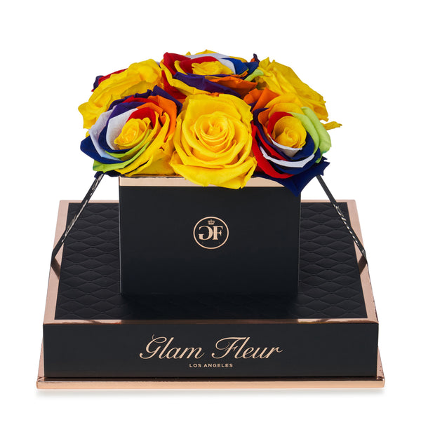 Noir Chic Rainbow and Yellow Preserved Roses