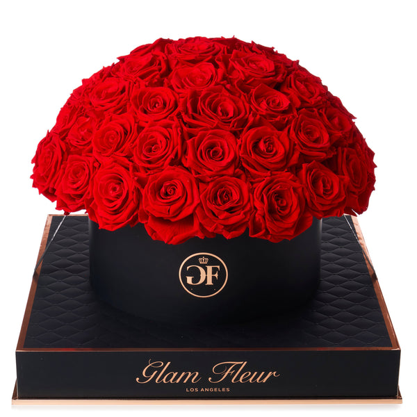 Noir Grande Round Light Red Preserved Roses
