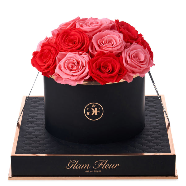 Noir Round Light Pink and Light Red Preserved Roses