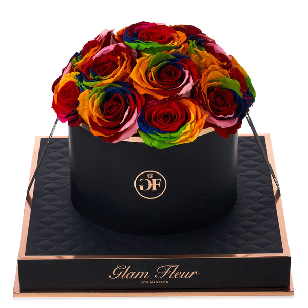 Noir Round Rainbow Preserved Roses