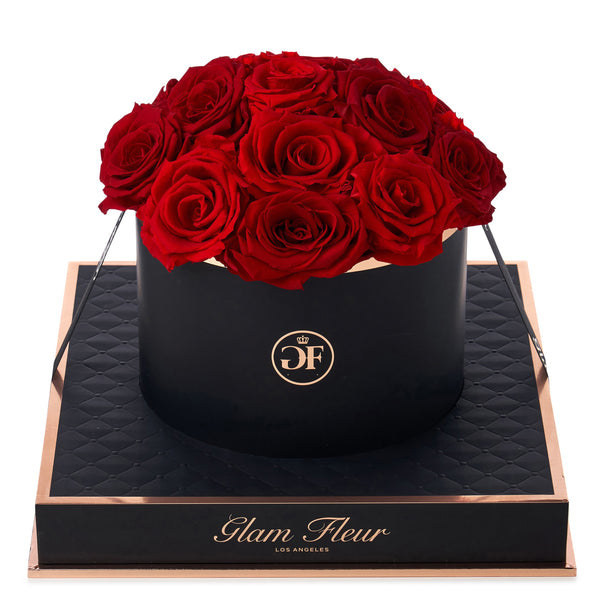 Noir Round Red Preserved Roses
