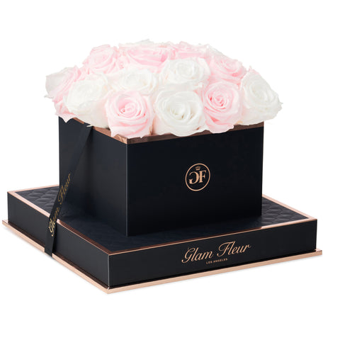 Noir Square Baby Pink and White Preserved Roses