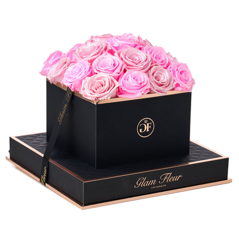 Noir Square Glow Neon Pink and Glow Pink Preserved Roses