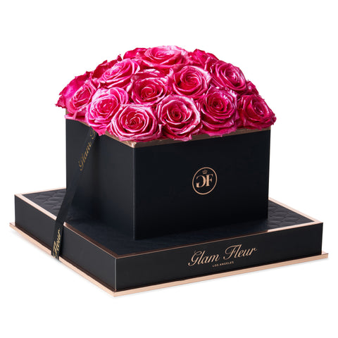 Noir Square Glow Winter Cherry Preserved Roses