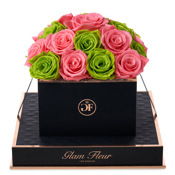 Noir Square Green and Light Pink Preserved Roses