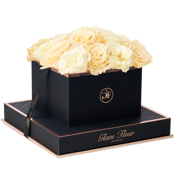 Noir Square Ivory and Creme Preserved Roses