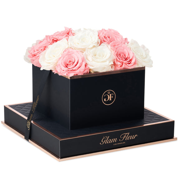 Noir Square Ivory and Light Pink Preserved Roses