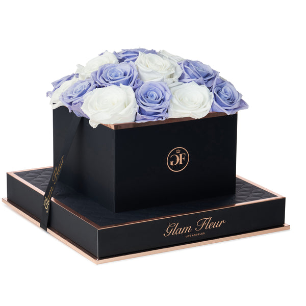 Noir Square Lavender and White Preserved Roses