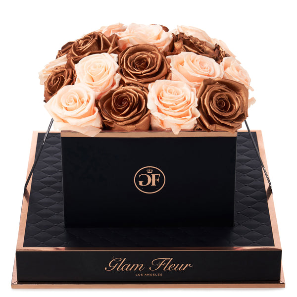 Noir Square Metallic Copper and Peach Preserved Roses