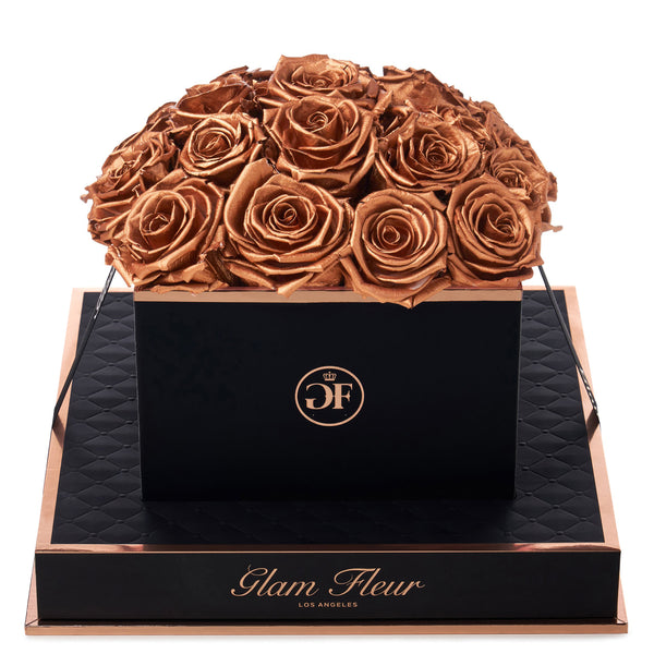 Noir Square Metallic Copper Preserved Roses