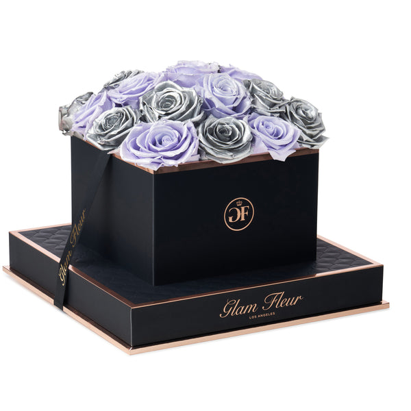 Noir Square Metallic Silver and Glow Lavender Preserved Roses
