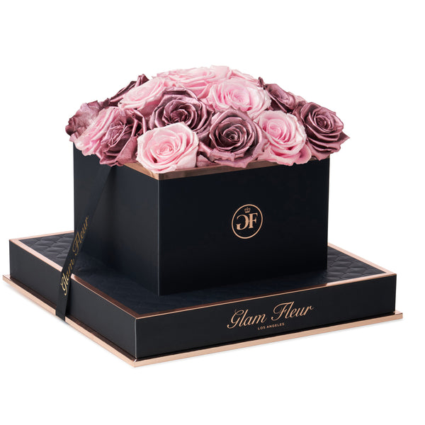 Noir Square Metallic Vintage and Glow Pink Preserved Roses