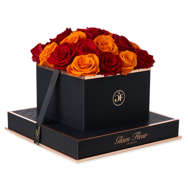Noir Square Red and Orange Preserved Roses