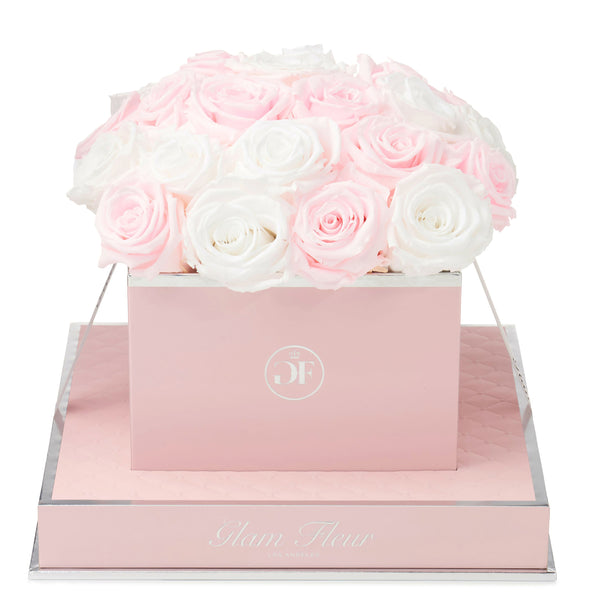 Rosé Square Baby Pink and White Preserved Roses