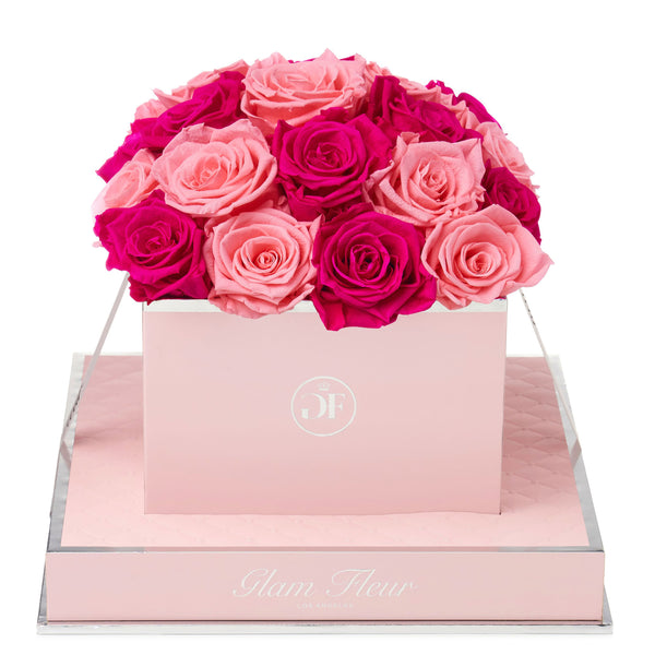 Rosé Square Fuchsia and Light Pink Preserved Roses