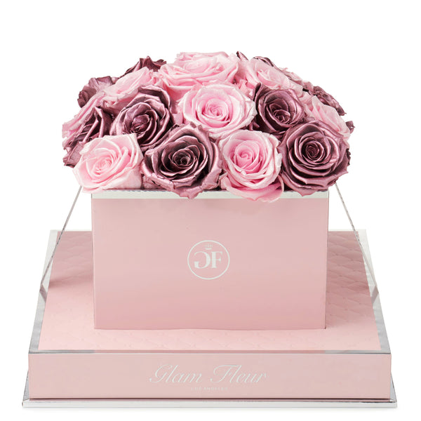 Rosé Square Glow Pink and Metallic Vintage Preserved Roses