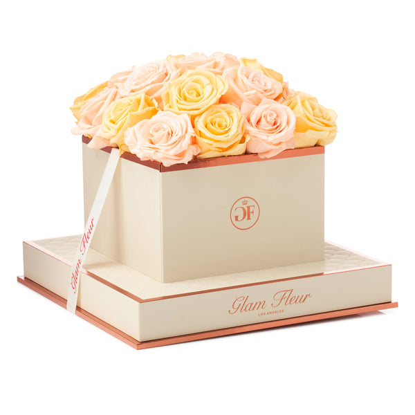 Salmon and Peach Montage Square Luxury Preserved Roses