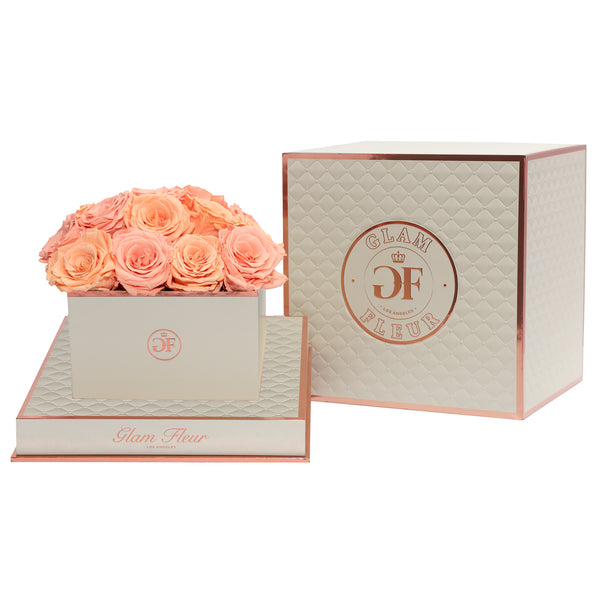 Bella Square Carisma & Coral Sky Luxury Preserved Roses