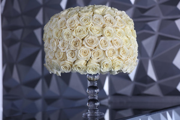One of a Kind Glass Cream Luxury Preserved Roses