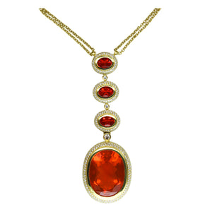 Fire Opal & Diamond Pendant 25.75 Carats