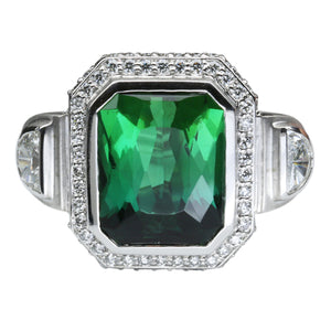Green Tourmaline Ring 10.81 Carats