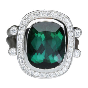 Green Tourmaline Ring 8.50 Carats