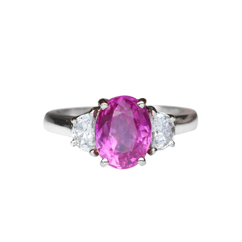 Pink Sapphire Ring 2.85 Carats