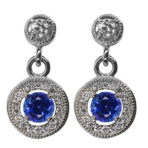 Tanzanite & Diamond Earrings 1.45 Carats