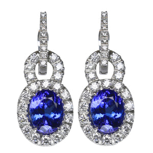 Tanzanite & Diamond Earrings 6.50 Carats