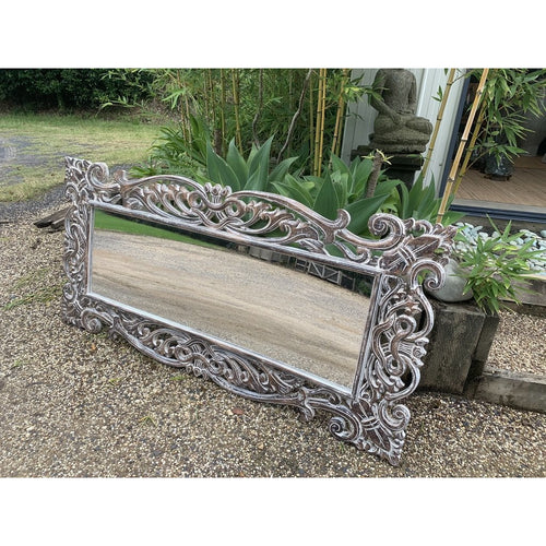 Chocolate wash carved mirror. - Unique Imports brought to you by Pablo & Kerrie Wijaya