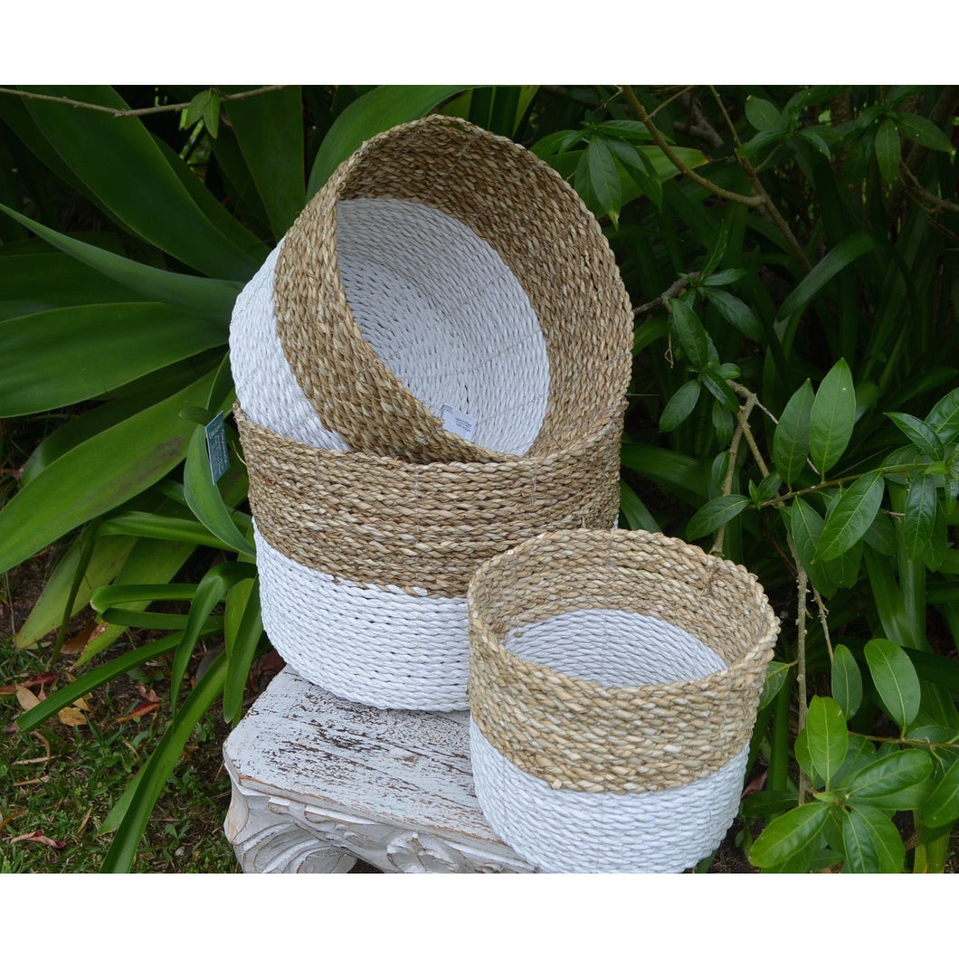 Weaved Seagrass basket set. - Unique Imports brought to you by Pablo & Kerrie Wijaya