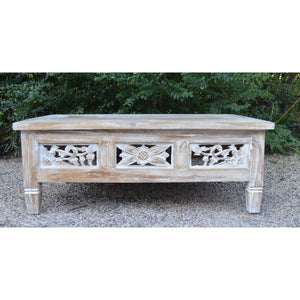 Whitewash Carved coffee Table - Unique Imports brought to you by Pablo & Kerrie Wijaya
