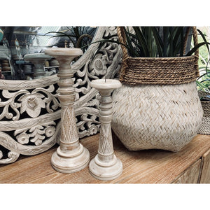 Timor carved candles White wash.