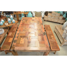Load image into Gallery viewer, Recycled boat natural table and bench seats.
