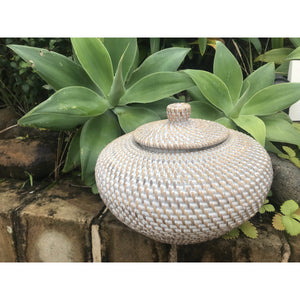 Rattan whitewash Gucci pot - Unique Imports brought to you by Pablo & Kerrie Wijaya