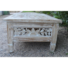 Load image into Gallery viewer, Whitewash Carved coffee Table