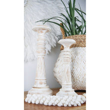 Load image into Gallery viewer, Hand crafted whitewash candlesticks