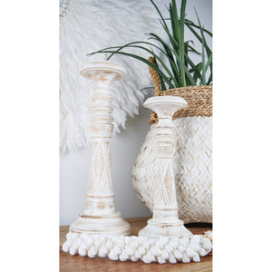 Hand crafted whitewash candlesticks
