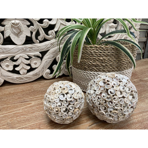 Hand made decorative shell balls.