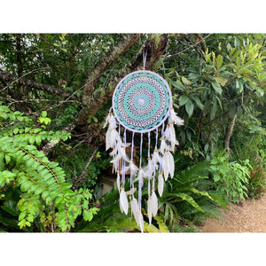 Aqua or pink crotchet dream catcher.