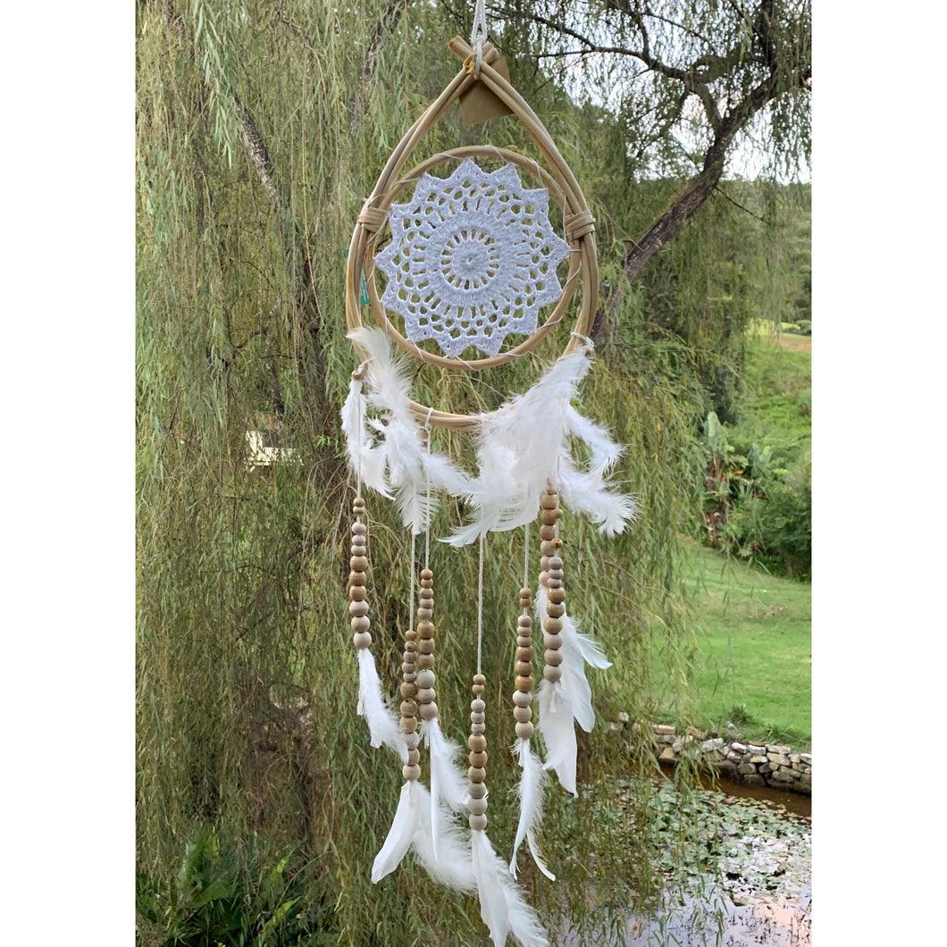 Teardrop white beaded dream catcher. - Unique Imports brought to you by Pablo & Kerrie Wijaya
