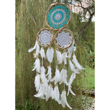 Load image into Gallery viewer, Tri crotchet dream catcher in Aqua & white. - Unique Imports brought to you by Pablo & Kerrie Wijaya