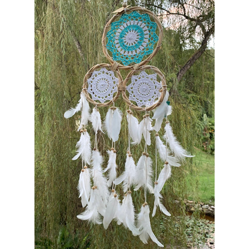 Tri crotchet dream catcher in Aqua & white. - Unique Imports brought to you by Pablo & Kerrie Wijaya