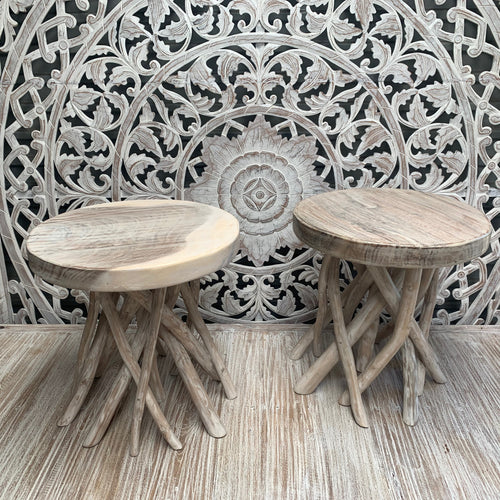 Unique whitewash abstract stool/sidetable - Unique Imports brought to you by Pablo & Kerrie Wijaya