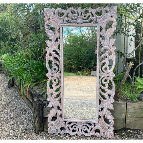 Lila Carved Mirror Natural wash.
