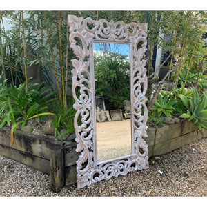 Lila Carved Mirror Natural wash. - Unique Imports brought to you by Pablo & Kerrie Wijaya