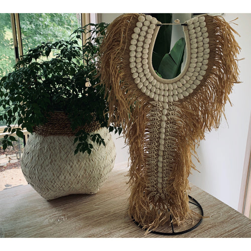 Maluku tribal raffia necklace wall feature