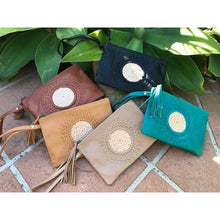 Load image into Gallery viewer, Mandala leather clutch purse with strap