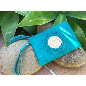 Mandala leather clutch purse with strap