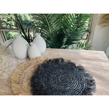 Load image into Gallery viewer, Natural or licorice Raffia seagrass mats.